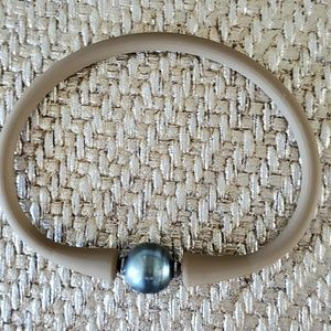 Taupe Silicone & Tahitian Pearl Bracelet